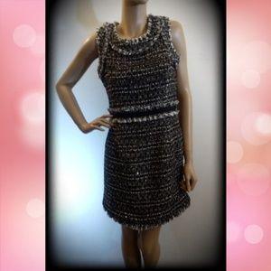 Boston Proper Dresses - Boston Proper Tweed Sequin Frayed Cocktail Dress
